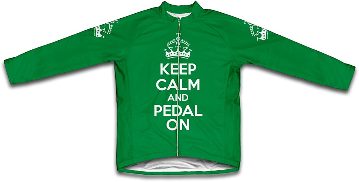Keep Calm and Pedal On Long Sleeve Cycling Jersey for Women Green Size XS