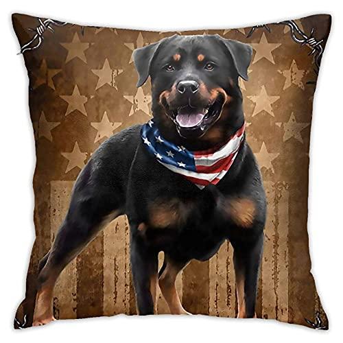 Dekokissen - Rottweiler H& Amerikanische Flagge Dekokissenbezüge Moderne Dekorative Kissenbezüge Polyester Kissenbezüge Kissenbezüge Sofa Wohnkultur 18 X 18 Zoll