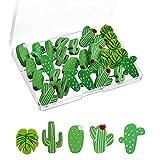 Decorativo Chinchetas, 30 Piezas Chinchetas de Madera, lindas Chinchetas, Chinchetas Cactus, Se Puede Utilizar para Pared, Tablón de Anuncios o Decoración de Tablero de Corcho