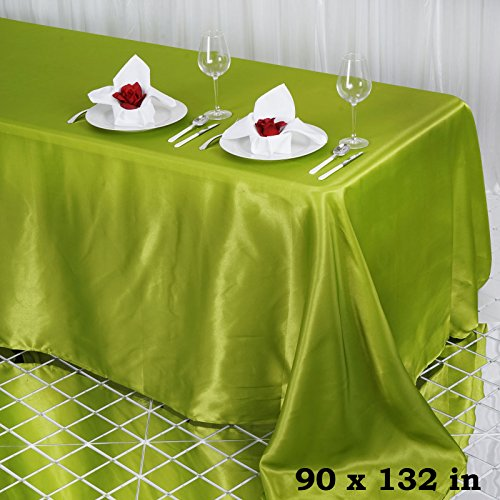 BalsaCircle 90x132-Inch Sage Green Rectangle Satin Tablecloth Table Cover Linens for Wedding Party Catering Kitchen Dining Events
