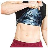 Fewear Men' s Sweat Body Shaper Vest Shirts Compression Workout Shapewear Tank Top Slimming Body Shaper Waist Trainer Slimmer Weight Loss Hot Sweat Sauna Vest (Black, S)