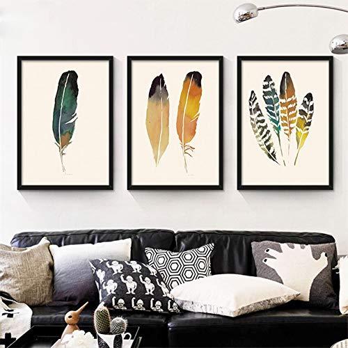 SDFSD Cartoon Bunte schöne Feder Tier schützen Kinderzimmer Home Decor Zimmer Wohnzimmer Küche Poster Wandkunst Leinwand Malerei 60 * 100cm