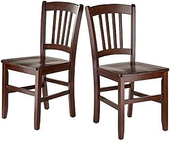 2-Set Winsome Madison Slat Back Chairs Walnut