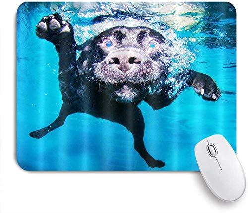 Gaming Mouse Pad Rutschfeste Gummibasis, Schwimmender Hund Schwarzer reizender Labrador-Hund im blauen Wasser 3D Pint Lustig, für Computer-Laptop-Schreibtisch