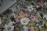 mollipolli-Stoffe Viskose Satin Blumenprint auf grau 0,5m