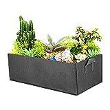 ZoneYan Sac de Culture Rectangulaire, Carré Lit Jardin Surélevé en Tissu, Carré Sac à Plantes Légumes de Jardin, Noir