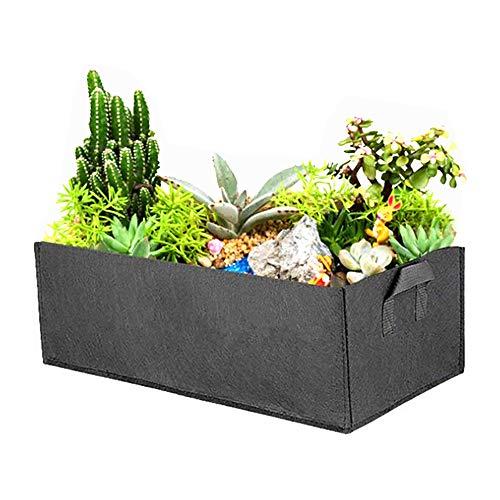 ZoneYan Rektangulär växtväska, fyrkantig planteringsbehållare med handtag, utomhus trädgårdsfilt växtkruka för blommor grönsaker