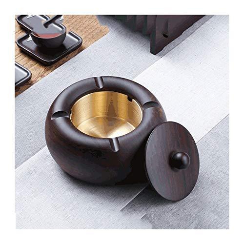 Cenicero a Prueba de Viento de cenicero de Madera Maciza de ébano con Tapa para la Mesa de café de la Oficina de café para el hogar Decoración de la Mesa (Color : Style C, tamaño : Pequeño)