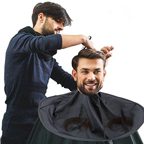 Friseur Umhang, Haar Ausschnitt mhang Regenschirm Salon Friseur Wasserdichter Friseurumhang Friseur Haar für Erwachsenen und Kinder(Schwarz)