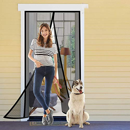 "AUTORCH Reinforced Magnetic Screen Door Self Sealing Heavy Duty Hands Free Door Mesh Screen with Full Frame Hook Loop, Pets and Kids Friendly, Keeps Bugs Out- 39"" x 83"" Black"