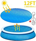 Solar Pool Cover for 12ft Inflatable Fast Set Paddling Swimming Pools, Pool Cover Bubble Wrap, Pool Cover Up...