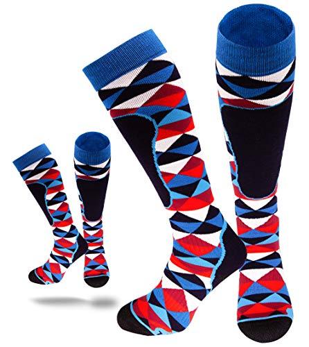 socks4fun Skisocken für Damen und Herren - 2 Paar Wintersocken | Sportsocken mit Thermo-Effekt | Tourenski Set | 35-38 39-42 43-46 (43-46, 2 paar Raute)