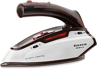 Taurus Pocket Iron Plancha de viaje, 1150 W, diseño mini, ligera, bivoltaje, 45 g/min, cepillo anti olores, bolsa de transporte, Cerámica, Blanco