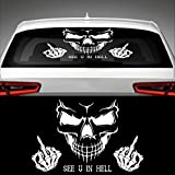 Skull SEE U IN HELL Heckscheibenaufkleber 60,0 cm x 39,0 cm Auto Aufkleber JDM OEM Tuning Sticker Decal 30 Farben zur Auswahl