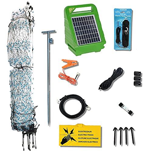 Starkline Electric Poultry Netting Kit- Solar Energizer (White/Blue Poultry Netting, 48') (82' Length)