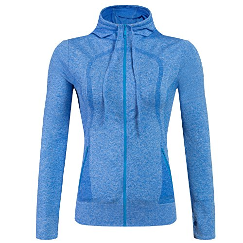 Selighting Veste de Sport Femme Vêtements de Sport Sweat Zippé pour Fitness Course Yoga (Bleu, M)