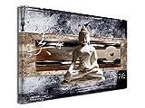 Tableau Statue DE Bouddha Asiatique imprimé - Impression sur Toile décoration Murale Zen - Déco Maison, Cuisine, Salon, Chambre Adulte - Marron 120x80 cm