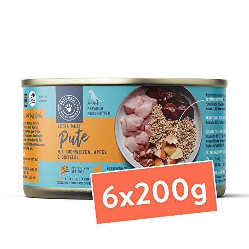 Nassfutter für Hunde | Pute mit Buchweizen, Apfel, und Distelöl | 1,2 kg - 6er-Pack