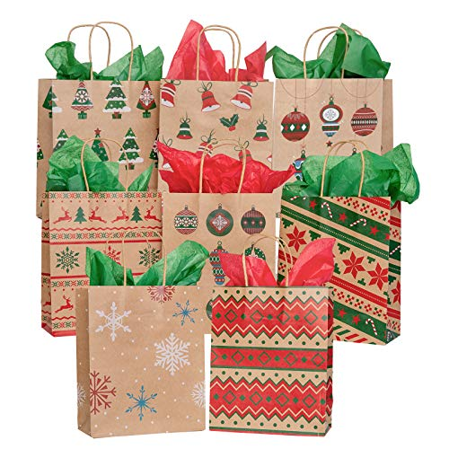 TOMNK 32 Christmas Bags Favor Bags Kraft Bags Bulk Medium Goody Bags with Tissue Paper for Holiday Wrapping