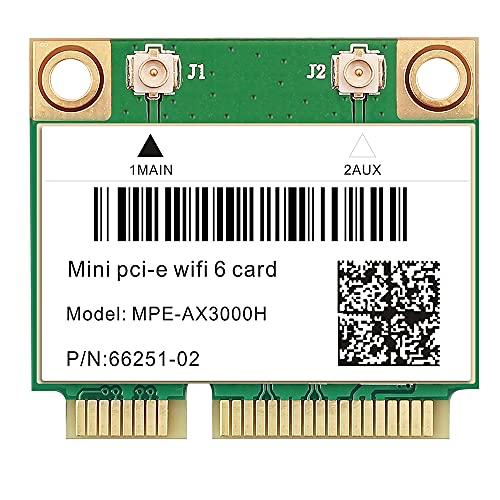 Mini PCIE Wi-Fi 6 Bluetooth 5.0 MPE-AX3000 WifI Card Wireless Dual Band 3000Mbps Half Mini PCI-E Network Wlan WIFI Card, 802.11ax/ac 2.4Ghz/5Ghz Adapter MU-MIMO,OFDMA, Windows 10 64bit For laptop