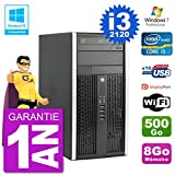HP PC 6300 MT Intel Core I3-2120 RAM 8Go Disque 500Go Graveur DVD WiFi W7...