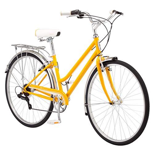 Schwinn Wayfarer Bicicleta adulta híbrida cruzador estilo retro, estrutura de passagem de 16 polegadas / pequeno aço, trem de força de 7 velocidades, rack traseiro, rodas 700C, amarelo