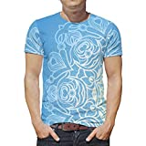 O2ECH-8 Männlich Bohimia T Shirt Jugendliche Top, Blaue Mandela Sommer Lässig - Mandela Art Muster drucken Schnelltrocknend Kurzarmhemd White 3XL
