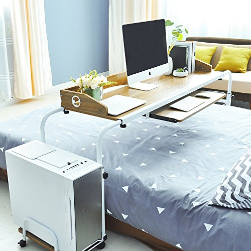 SogesFurniture Mesa de Ordenador Portatil con Ruedas Ajustable Mesa Escritorio para sofá Cama, BHEU-203#2-Ok
