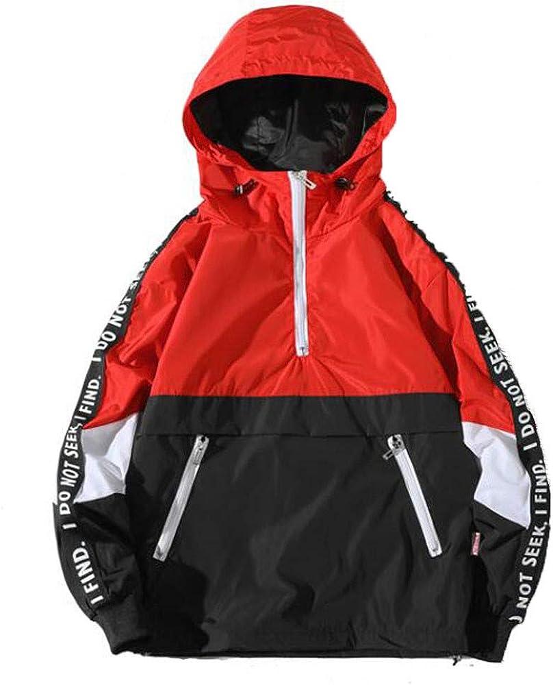 F_Gotal Fashion Mens Pullover Hooded Waterproof Lightweight Windbreaker Jackets Patchwork Sweatshirt Hooded Pullover