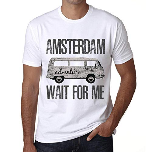 Hombre Camiseta Vintage T-Shirt Gráfico Amsterdam Wait For Me Blanco