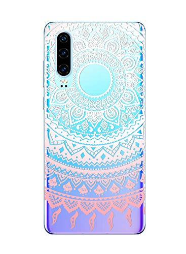 Suhctup Moda Coque Compatible pour Huawei Honor 9X,Transparent Silicone TPU Souple Étui avec [Motif Fleur] Crystal Ultra Fine Shock-Absorption Antichoc Protection Housse Cover Case(Lacet 5)