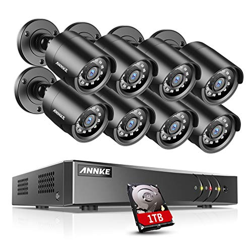 ANNKE 8CH 5MP H.265+ CCTV Camera System w/1TB HDD, 8x 2.0MP Security Outdoor Bullet Cameras, Email Alert with Images, Smart Playback, 24/7 Home &Business Monitoring Recording