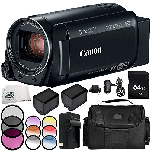Affordable Canon VIXIA HF R82 Camcorder 9PC Accessory Bundle – Includes 64GB SD Memory Card, 3 Pie...