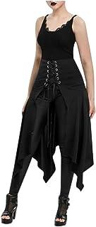 CCatyam Women Halloween Steampunk Asymmetrical Skirt Asymmetric Lace-up Skirt