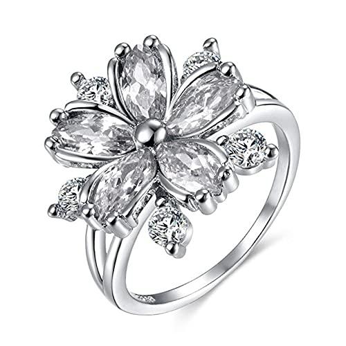 ZYYXB Anillos de promesa para niña, anillo de flores, anillo para mujer, anillo de diamantes de imitación, plata n.º 10