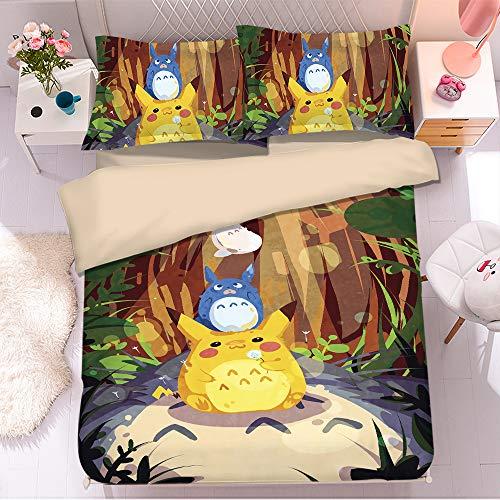 KYNWCLRW Small Double Bedding Sets, 3D Digital Print Totoro Duvet Sets, Premium Polyester-Cotton Fashion Printedduvet Cover And Pillowcase Set, For Kids (180X200Cm)