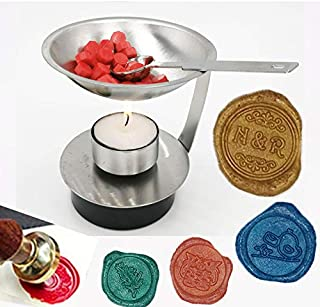 MNYR Adjustable Fire Height Wax Warmer Melts Heater Wax Sticks Beads Melting Glue Furnace Tool Stove Pot for Wax Seal Stamp Wedding Invitations Arts Crafts Melting Spoon Lightening Candle Kit