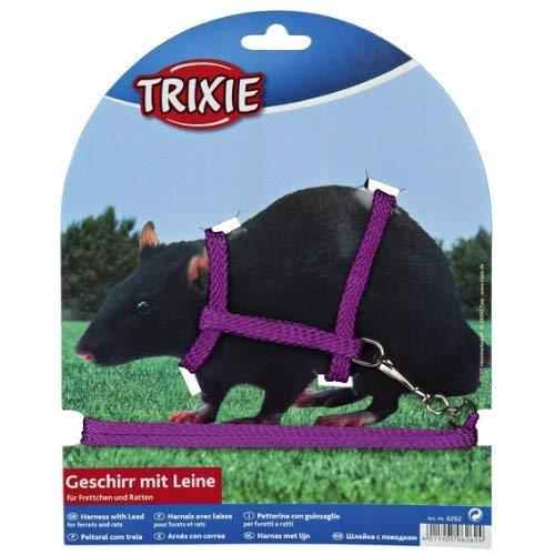 Trixie 6262 Geschirr mit Leine für Frettchen/Ratten, Nylon, 12–25 cm x 8 mm (farblig sortiert)