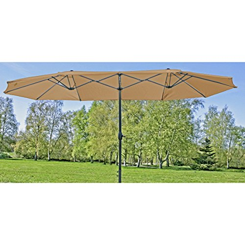 Alta calidad Doble sombrilla grande–Jardín pantalla Manivela pantalla...