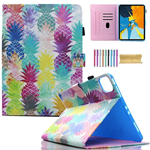 iPad Pro 11 Case 2020 & 2018, AMotie Folio Stand Smart Soft Protective Cover with Pencil Holder, Auto Wake/Sleep for New iPad Pro 11 2nd Gen 2020 (Latest Model) & 1st Gen 2018, Colorful Pineapple