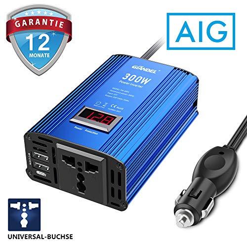 GIANDEL 300W Wechselrichter Kfz spannungswandler DC 12V auf AC 230V Power Inverter mit Universal-Buchse 4.8A Dual USB Adapter und LED-Anzeige