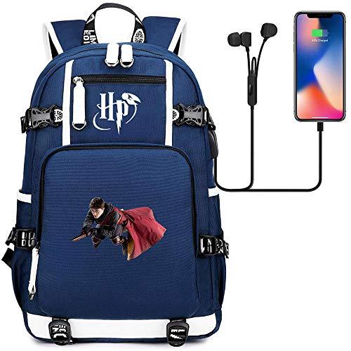 Mochila Harry Potter Avatar,Mochila portátil Bolso del Estudiante,con Puerto de Carga USB e Interfaz de Auriculares de 3.5 mm Blue 47/30/15cm estilo-26