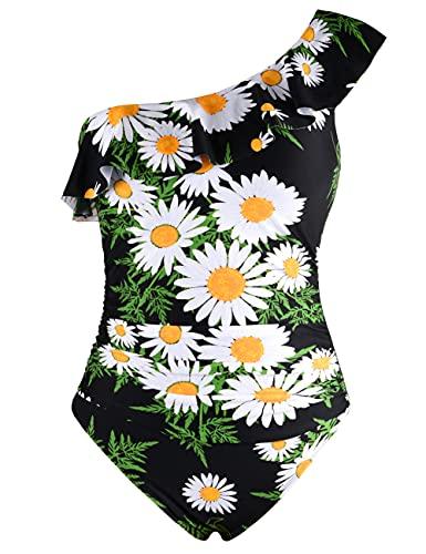 Hilor Women's One Piece Swimsuits One Shoulder Swimwear Asymmetric Ruffle Monokinis Bathing Suits White Chrysanthemum 10