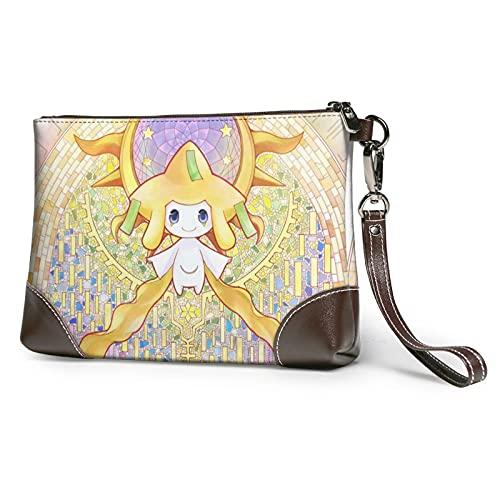 Anime Eevee cuero embrague pulsera correa cremallera personalidad moda alta calidad cartera pasaporte cuero suave hombres mujeres