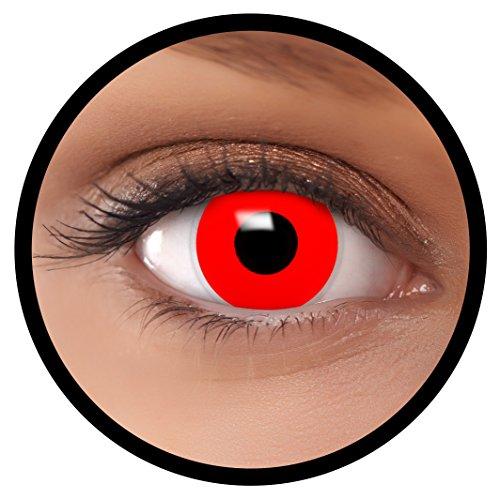 Farbige Kontaktlinsen rot Teufel + Behälter, weich, ohne Stärke in rot als 2er Pack (1 Paar)- angenehm zu tragen und perfekt für Halloween, Karneval, Fasching oder Fastnacht Kostüm