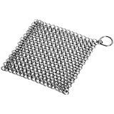 TRIONFO Cast Iron Cleaner, 7''x7'' Stainless Steel Chainmail Scrubber,Clean Cast Iron Skillet,Cast iron Dutch Oven,Cast iron Wok.