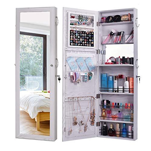 ジュエリーキャビネット戸棚、ロック可能な壁掛け収納オーガナイザーユニット、フルレングスフレームレスミラー、ネックレスイヤリング用、ホワイトウッドグレイン120x37 cm LLGHT