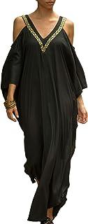 Chunoy Women Casual V Neck Loose Caftan Long Dress Beach Wear Split Maxi Dress