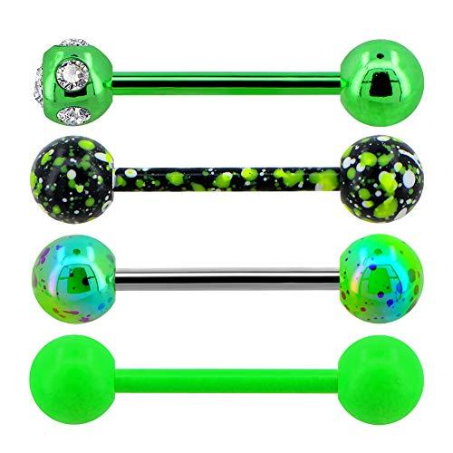 OUFER 4Pcs 14G 316L Edelstahl CZ Zunge Bars Green Color Tongue Piercings Splatter zungenpiercing Set
