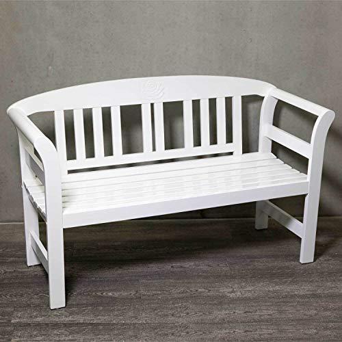 Gartenbank aus Holz, in weiß, ergonomische Sitzfläche